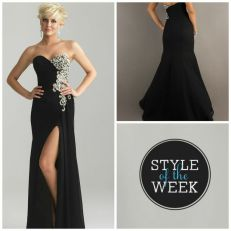6623: This strapless, sweetheart style by Night Moves is elegant and sultry, featuring beadwork composed of sequins, pearls, and rhinestones that cover the left side in a baroque pattern and a high slit over the left leg. The black color only adds to the elegance of this style, and Seventeen Magazine clearly agrees with us because this style was featured in their Prom 2013 issue!