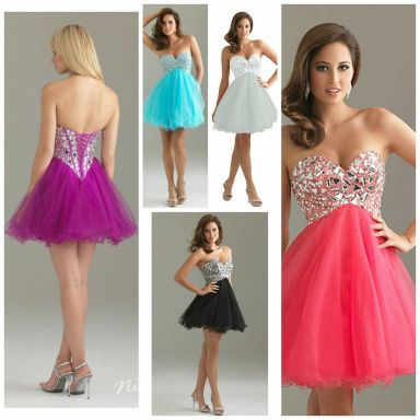 6410: This sweetheart dress is all about the fun factor! Perfect for homecoming 2014, the full tulle skirt and corset covered in mirrored sequins make this dress super fresh with a dose of sparkle. It laces up in the back to add another edge to this style. This style comes in a variety of colors -- white, black, coral, fuchsia, and turquoise -- all perfect for summer and fall 2014!