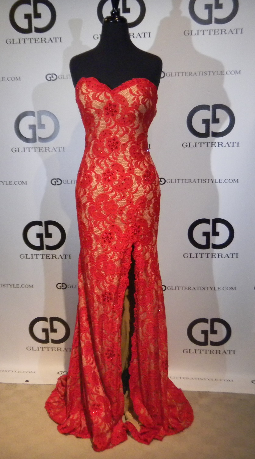 Red Lace Prom Dress 2014