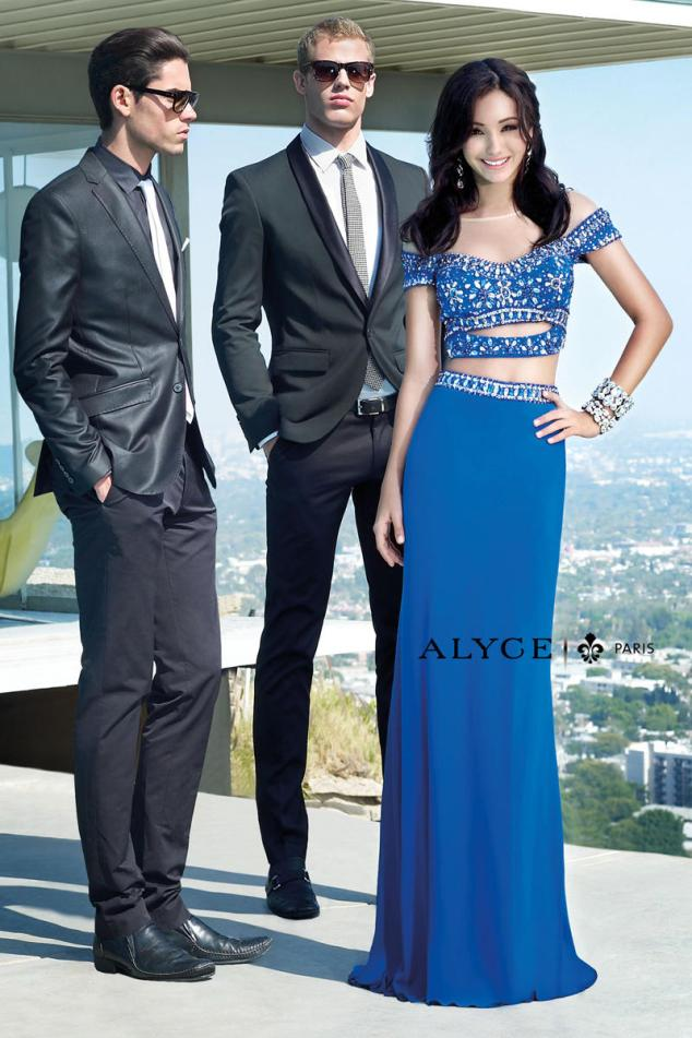13 - alyce royal blue crop top prom dress