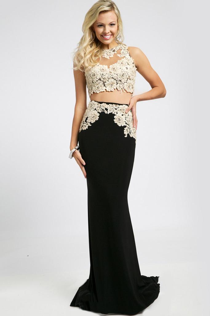 jovani crop top prom dress 94306F