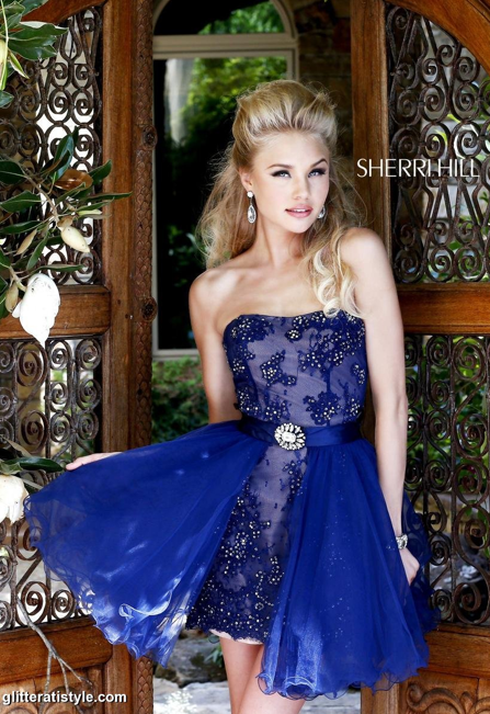 Sherri Hill short blue prom dress