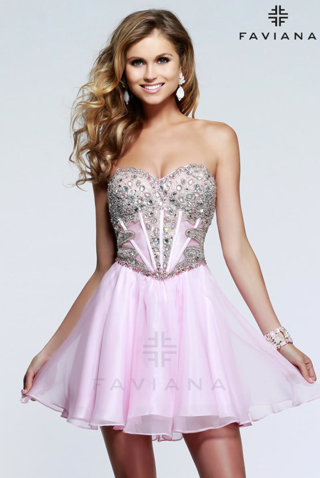 Faviana short prom dress
