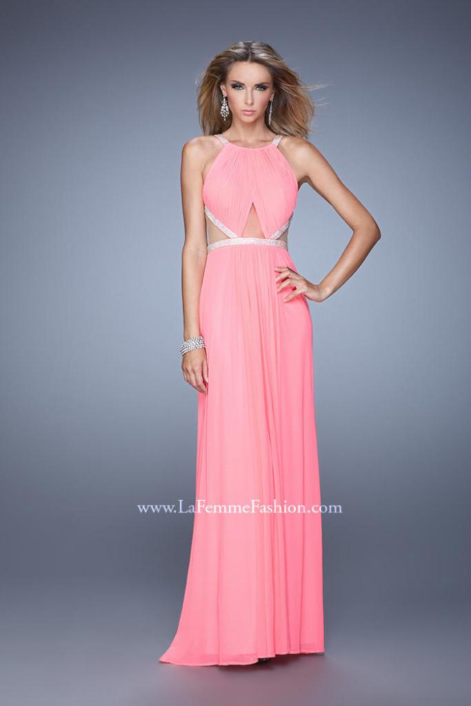 This La Femme gown is one of our favorite styles this season.