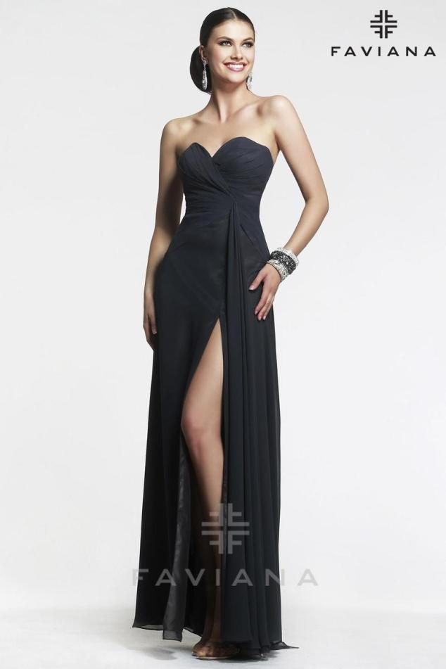 You can't go wrong with a streamlined black dress, like this Faviana gown, combined with statement jewelry.
