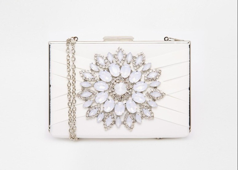 asos white box clutch