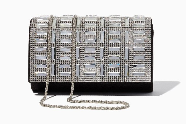 black and silve prom clutch